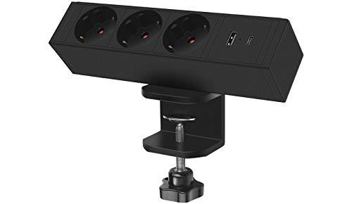 Regleta de escritorio con cargador USB C, regleta en la mesa Quick Charge QC3.0 puerto USB, cable de alimentación de 1,8 m, 3 enchufes