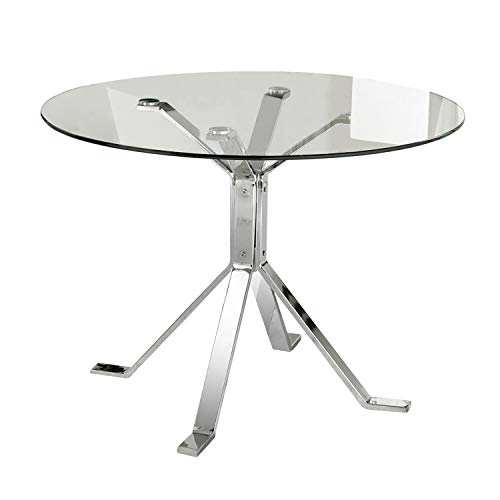 Due-Home 2454140031 - Mesa de Comedor Ginebra - Color - Cromado-Transparente