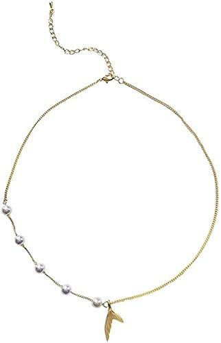 Zaaqio Collar Collar Simple Temperamento Collar de Perlas súper Inmortal Dulce y Hermosa Personalidad Gargantilla y Cadena de Hueso para niña
