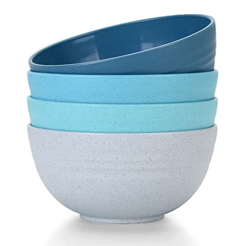 [Set of 4] Unbreakable Cereal Bowls 24 OZ Microwave and Dishwasher Safe BPA Free E-Co Friendly Bowl Assorted Color Dessert Bowls for Serving Soup, Oatmeal, Pasta and Salad