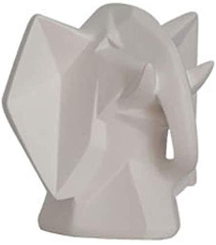 TYX Stongwell nórdico Origami Caballo Escultura Abstracta Moderna Simplicidad geométrica Resina Animales artesanías decoración del hogar Adornos Regalo-Cabeza de Elefante