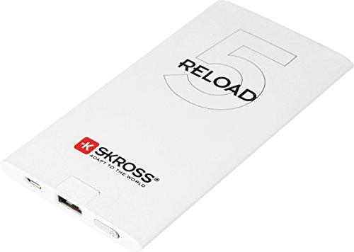 SKROSS Reload 5 - Ultra-Flache Powerbank im Aluminium-Gehäuse mit 5000 mAh, externer Akku, 1 USB-Port mit schnellen Ladezeiten