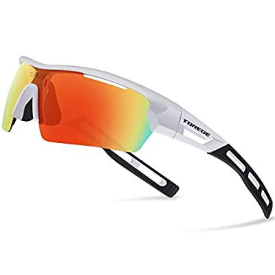TOREGE Polarized Sports Sunglasses for Men Women Cycling Running Driving TR033(White&Black Tips&Red Lens)