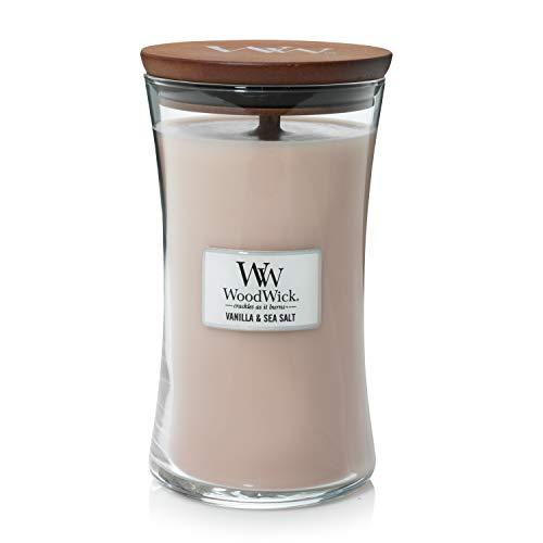 Große WoodWick Duftkerze im Sanduhrglas mit knisterndem Docht, Vanilla & Sea Salt, bis zu 130 Stunden Brenndauer