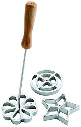 IBILI Backform-Set Blumenrosette 27x7 cm aus Edelstahl/Holz, Silber/braun, 27 x 7 x 7 cm, 4-Einheiten