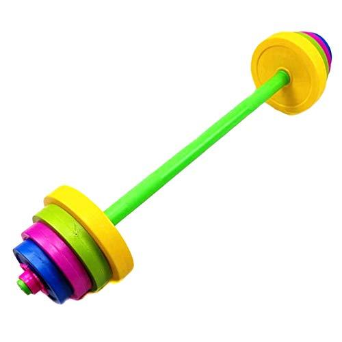 VOSAREA Satze Kinder Hanteln Fitness 80cm Lange Plastik Hanteln mit 8 Scheiben Spielzeug für Innen Outdoor Garten Sport Zubehör