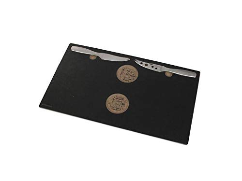 BOSKA 330306 Plateau Epic avec 2 Couteaux à Fromage, Acier Inoxydable, Brun/Argent/Noir, 37 x 13 x 2 cm