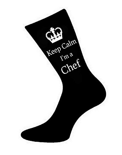Oaktree Gifts Herren Socken Keep Calm I 'm a Chef Gr. 39-45, Schwarz
