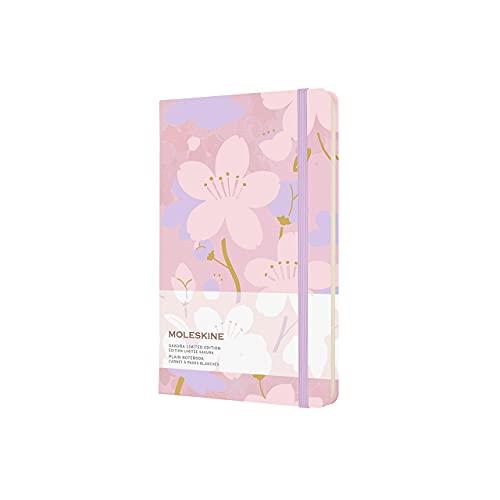 Moleskine Taccuino Sakura con Fiori di Ciliegio - Notebook, Pagine Bianche e Copertina Rigida in Tessuto, Large 13 x 21 cm, 240 Pagine, Rosa