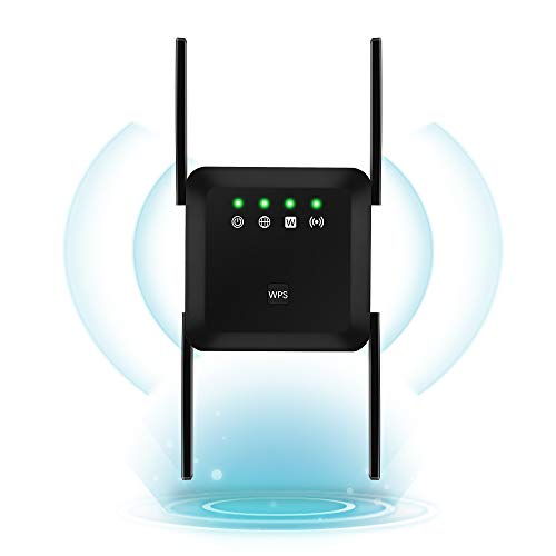 1200Mbps WiFi Range Extender Wireless Signal Repeater Booster, Dual Band Expander, 4 Antennas 360° Full Coverage, Extend WiFi Signal to Smart Home & Alexa Devices (1200Mbps, Black)