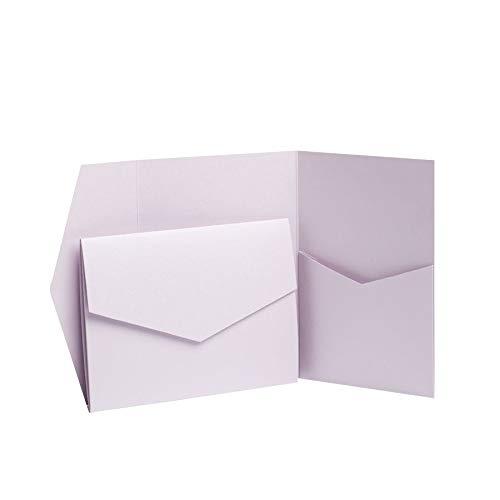 Pocketfold Invites Ltd Einladungskarten, Lavendel, Perlglanz, 130 x 185mm