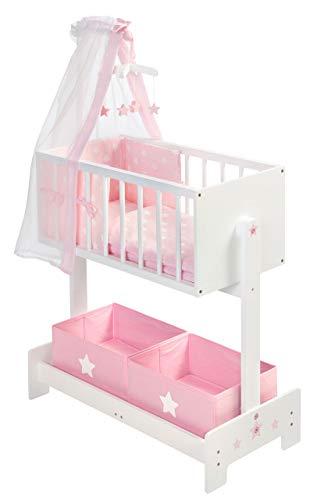 SUN Große Puppenwiege mit Nestchen, Bettzeug, Mobile und Stoffboxen (Weiß-Rosa)