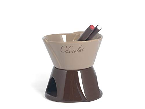 Home Chocolat Set Fonduta Cioccolato per 2 Persone, Marrone/Beige