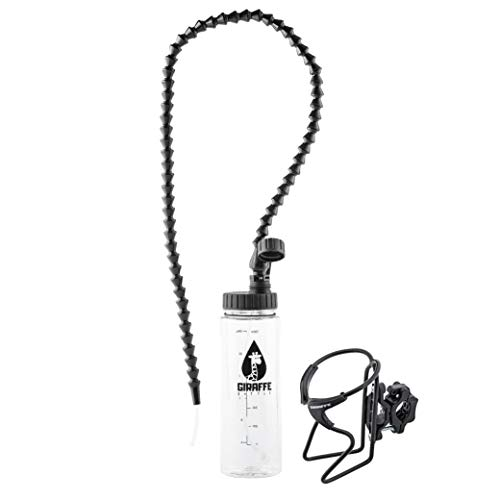 Giraffe Bottle Hands Free Drinking System, Clear Bottle, with Round Tube Mounted Bottle Holder (36 inch / 91 cm)
