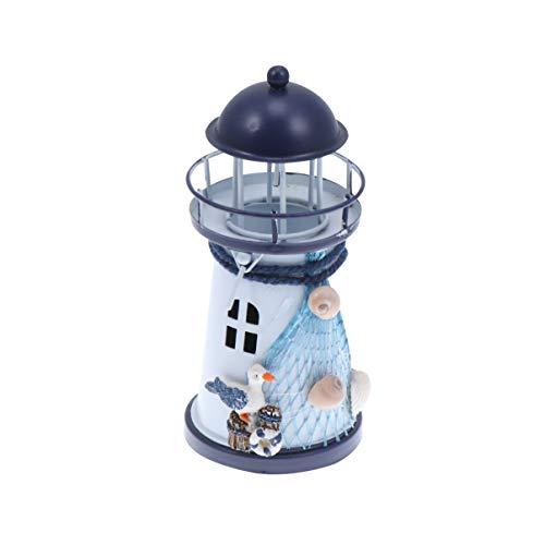 VOSAREA Mini Leuchtturm Teelicht Kerzenhalter Maritime Dekoration Kerzenständer Eisen Teelichthalter Hochzeit Weihnachten Tischdeko für Schlafzimmer Kinderzimmer Wohnzimmer Deko