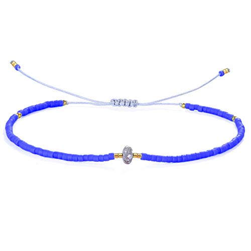 KANYEE A Lucky Pearl Inlay in Miyuki Beads Bracelets Pulseras de Amistad de tamaño Ajustable Hechas a Mano Joyería de Navidad Regalo para Mujeres Hombres-Azul 20I
