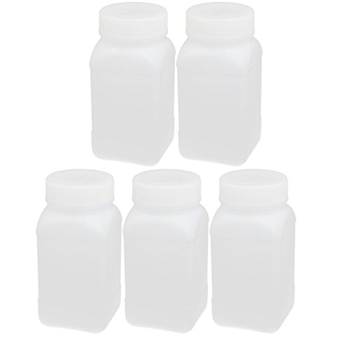 uxcell 5pcs 250ml HDPE Plastic Wide Mouth Square Liquid Storage Bottle Container White