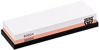 GRÄWE Wetzstein Körnung 3000/8000 - Kombi-Schleifstein aus Korund mit Gummi-Halterung