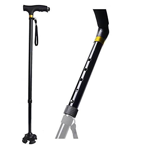HOGAR Y MAS Bastón Extensible de Aluminio Rígido y Firme, Seguridad Garantizada. Luz LED Tobillo Biónico Antideslizante 75/100 cm