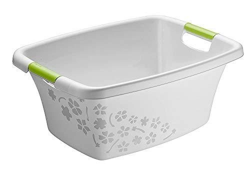 Rotho Flowers Wäschewanne 25l mit 2 Griffen, Kunststoff (PP) BPA-frei, grau/grün, 25l (50,5 x 38,3 x 21,8 cm)