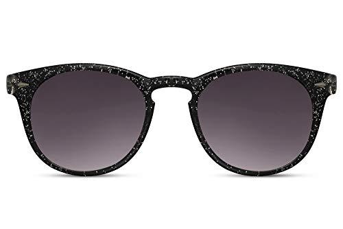 Cheapass Sunglasses bezaubernd rund schwarzer Rahmen mit silbernem Glitzer und dunklen Gläsern Modedesign UV400-geschützt Damen