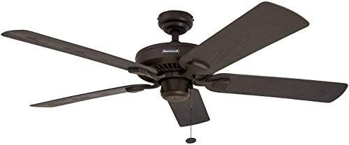 Honeywell Belmar 52-Inch Outdoor Ceiling Fan, Five Damp Rated Blades, Exterior, Bronze