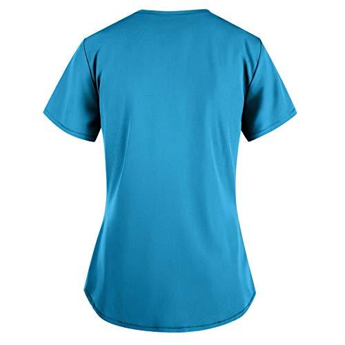 Routinfly Camiseta de mujer de cuello redondo, camiseta de verano impresa, camiseta de manga corta para verano, cuello en V