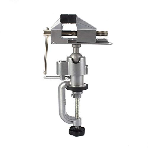 Universal Bench Vise Swivel 3'' Table Vise Tilts Bench Clamp Vise Rotate 360°Work For Electric Drill, Grinder,Rotary Tool,Hobby and Jewelry Making and Metal Wood Working(C Type:0-57mm)
