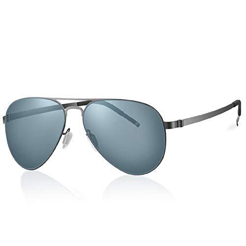 Highland Park gafas de sol de piloto hombre polarizadas retro mujer aviador vogue súper ligero protección UV400 (plateado/gris)
