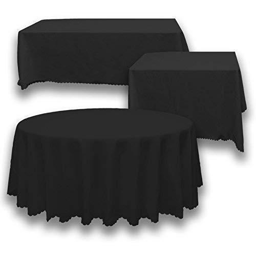 Trimming Shop 70' x 126' rectángulo Negro Cubierta de Tela de Mesa de poliéster Liso - Tejido de Lino Ancho Adecuado para Superficies Planas - para Banquetes, recepciones de Bodas, y Eventos