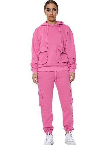 Women Front pocket Hooded Top Cargo Bottom Full Tracksuit Pink ML UK 12 14