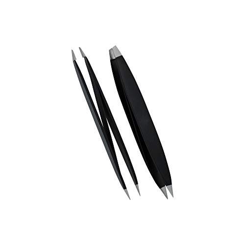 Pathfinder Technologies Pinzette für Maniküre, Pediküre, doppelseitig, schräge Spitze und Spitze, Schwarz Mit lebenslanger Pathfinder Garantie