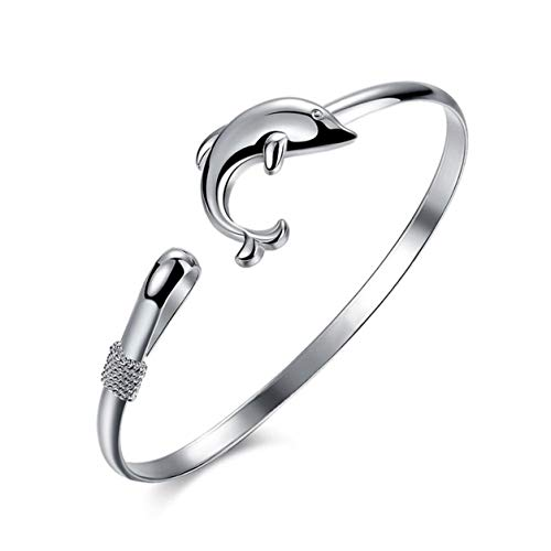 StrongAn Joyas de animales de moda Joyas de moda de estilo europeo Pulsera de brazalete con cierre de delfín de color plateado Perfecto para regalo - Plata