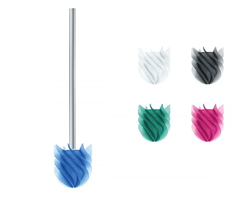 Sanwood 1240503 WATERCLOU innovative WC-Bürste ohne Borsten Toilettenbürste aus Silikon Edelstahl-Stiel rostfrei - blau