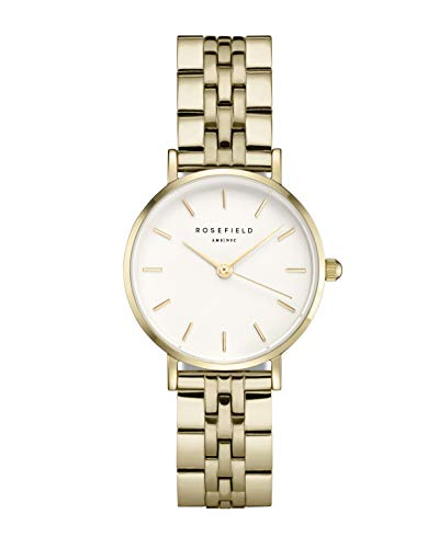 Rosefield Damen Analog Uhr The Small Edit Weiß Stahl Gold 26WSG-267