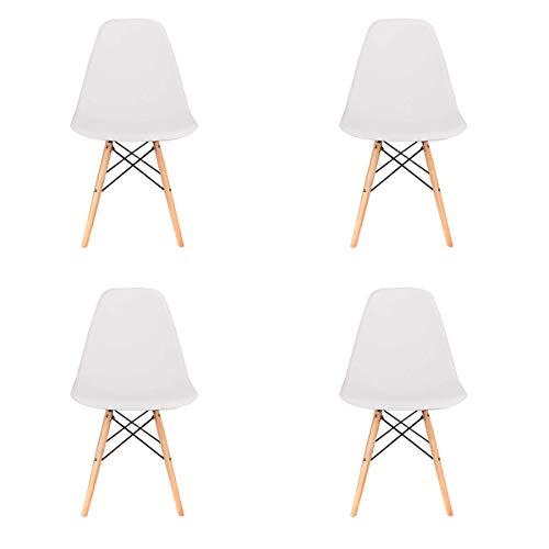 EDLMH - Juego de 4 sillas clásicas nórdicas de comedor y oficina con diseño ergonómico para cocina, comedor, sala de estar, oficina (4 unidades), color blanco