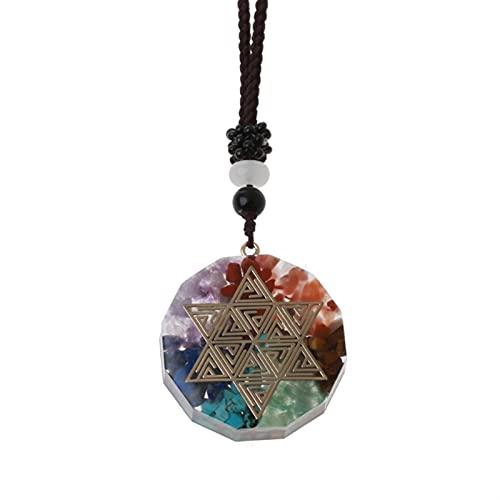 ACEACE Colgante de Collar de Cristal de 7 Chakras (Metal Color : 2282)