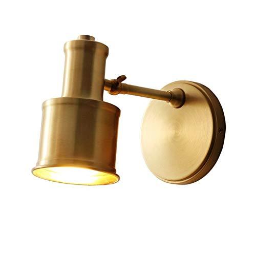 YXLMAONY Lámpara de pared de iluminación interior retra E27 de metal, lámpara de decoración del hogar, lámpara de lectura de cabecera giratoria múltiple, cuerpo de lámpara de cobre, pantalla, adecuado