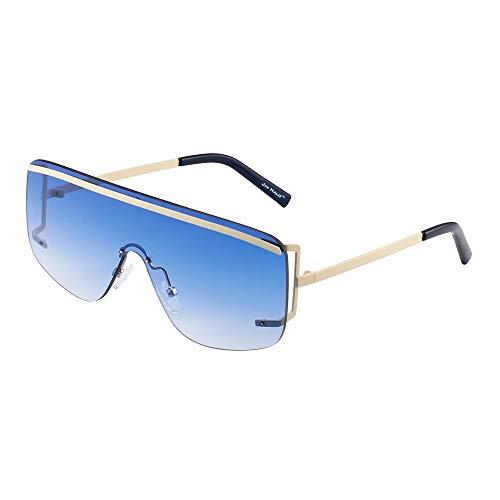 JIM HALO Oversized Escudo Gafas de Sol Lente Gradiente Plano Top Sin Marco Borde Anteojos Hombre Mujer(Beige/Azul Gradiente)