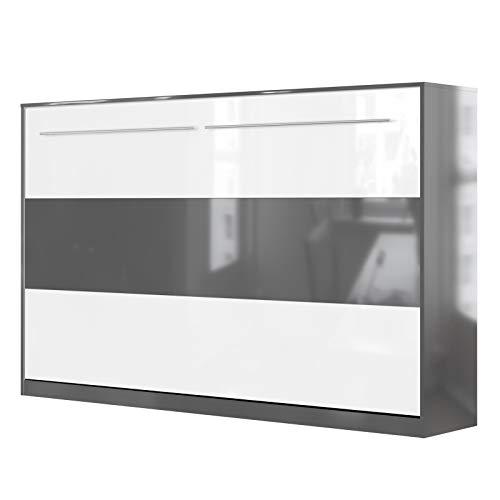 Smartbed standaard opklapbed, bed voor de muur 120 Horizontal Antracite Lucida/Bianco & Antracite Lucido.
