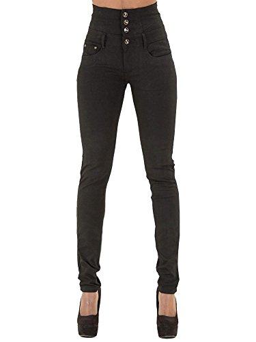 Minetom Mujeres Casual Cintura Alta Elástico Flacos Push Up Skinny Tejanos Jeans Flaco Derecho Mezclilla Pantalones Vaqueros Lápiz Negro EU XS