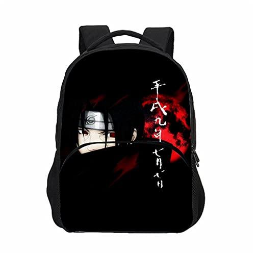 KIACIYA Mochila Anime Naruto, Grande Capacidad 3D Uchiha Sasuke Itachi Akatsuki Anime Cosplay Mochila Escolar Estudiante Bolso de Escuela Casual Laptop Backpack Mochila para Portátil Viajes- (14)