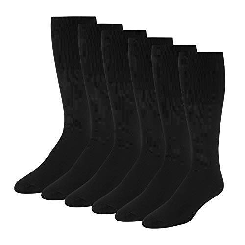 """Men's Solid Tube Socks Over the Calf High 24"""" (6-Pair) Size 9-10-13-19"""