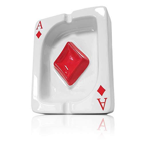 Ganzoo Aschenbecher im Poker-Karten Design, Karo Symbol Ass