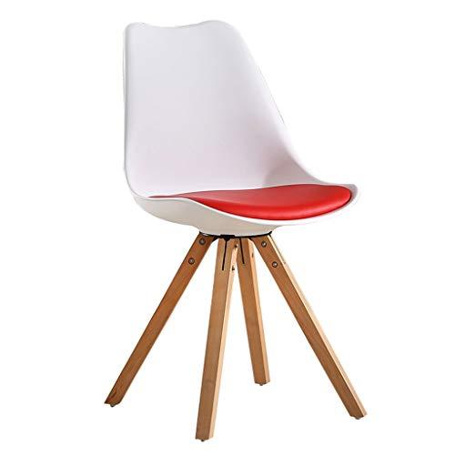YAWEDA Nórdica Tulip sillas, Comedor Moderno Asiento Acolchado Suave, Patas Madera Maciza Haya Natural, Respaldo Forma ergonómica (Pack 1) (Color : Red)