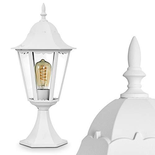 Außenleuchte Hongkong, Sockelleuchte in antikem Look, Aluguß in Weiß mit Klarglas-Scheiben, Wegeleuchte 49 cm, Retro/Vintage Gartenlampe, E27-Fassung, max. 100 Watt, IP44