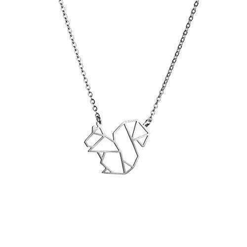 La Menagerie Ardilla Plata, Joya de Origami & Collar geométrico Plata Mujer - Collar bañado en Plata de Ley 925 con diseño Animal Ardilla - Joyería para niñas y Mujeres