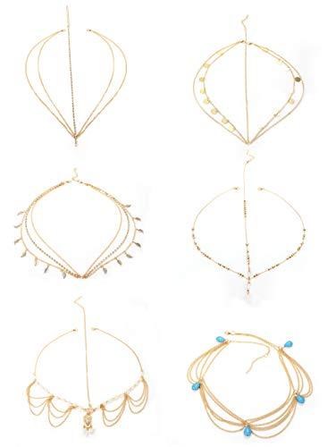 Milacolato 6Pcs Gold Head Chain Jewelry for Women Girls Bridal Bohemian Christmas Headband Hair Headpiece