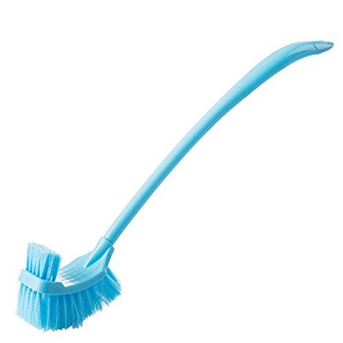 Da.Wa Brosse de toilettes à long manche long - Brosse de nettoyage double face pour la salle de bain, la cuvette des WC, Plastique, bleu, 48CM