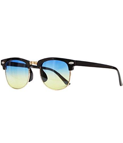Caripe Sonnenbrille Retro Vintage Kinder Mädchen Jungen verspiegelt - klubbakid (One Size, 411 - schwarz - blueyellow getönt)